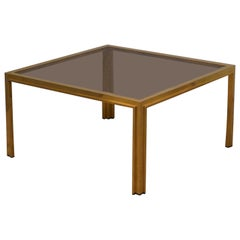 Romeo Rega Midcentury Square Brass and Glass Sofa Table, 1970