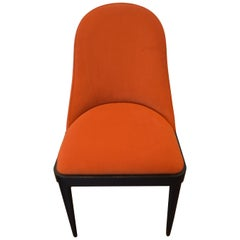 Modern Rounded Back Dining Chair for Custom Order, Showing in a Pumpkin Velvet