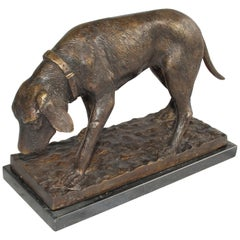 20th Century French Bronze Dog, Dark Brown Sculpture