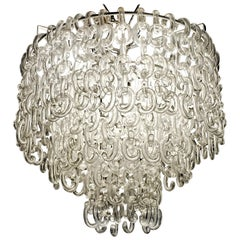 Giusto Toso for Fratelli Toso, Gala Chandelier, Clear Blown Elements, 1960s
