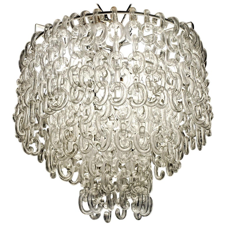 Giusto Toso for Fratelli Toso, Gala Chandelier, Clear Blown Elements, 1960s For Sale