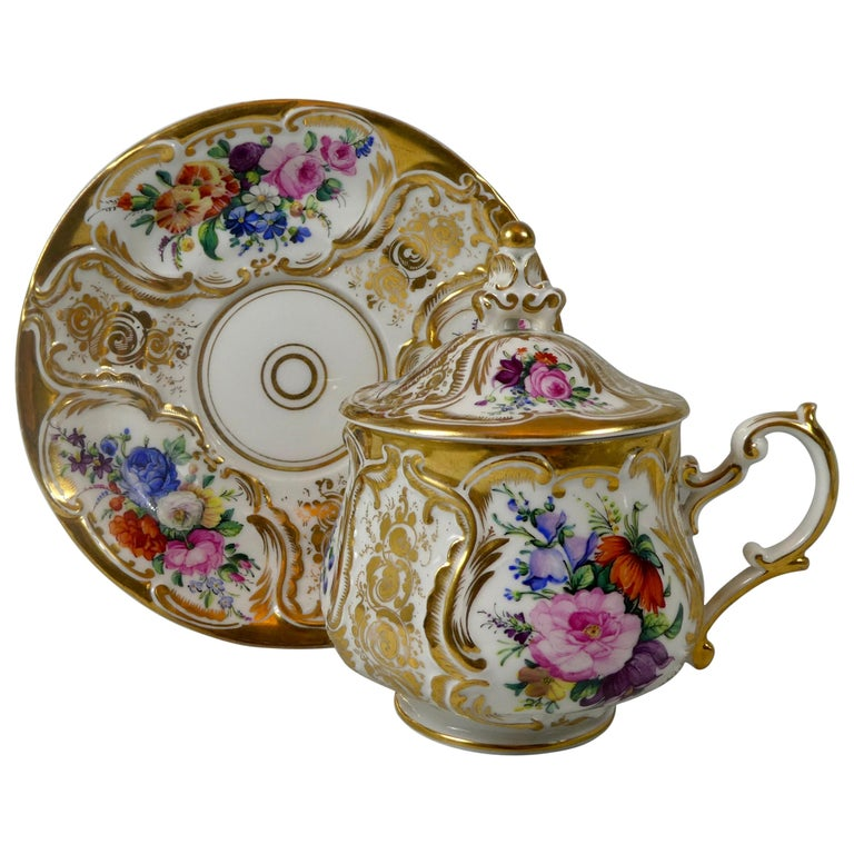 KPM Berlin Porcelain Chocolate Cup, Cover and Stand, circa 1860