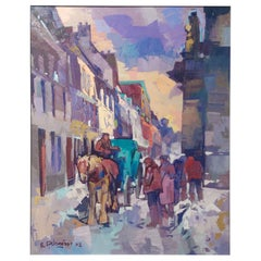 'Le Vieux Montreal' Oil on Canvas Contemporary Painting by Bedros Aslanian