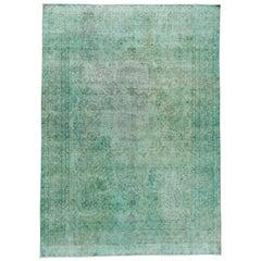 Vintage Distressed Overdyed Teal Wool Rug