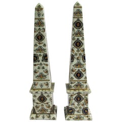 20th Century Pair of Italian Obelisks, Hand-painted porcelain