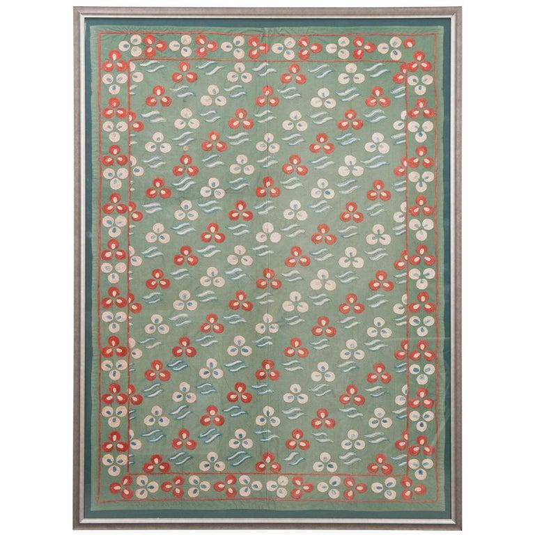 "Rare Vintage ""Nim Suzani"" Embroidered Textile Panel For Sale"