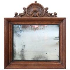 19th Century Italian Carved Oak Wood Wall Mirror