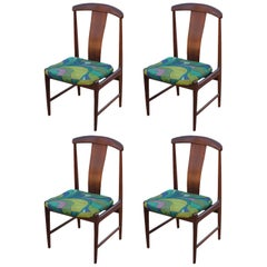 Set of Four Teak Mid-Century Modern DUX Dining Chairs by Folke Ohlsson COM