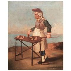 Late 18th Century Italian Oil on Canvas Portrait of a Pizza Maker on the Coast