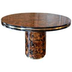 Willy Rizzo Burl Wood Round Center/Dining Table, Brass Details, Italy, 1960s