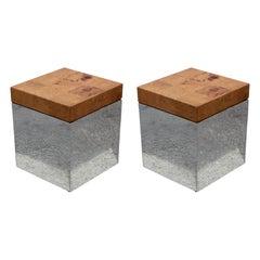 Pair of Burl and Chrome End Tables / Pedestals by Milo Baughman Thayer Coggin