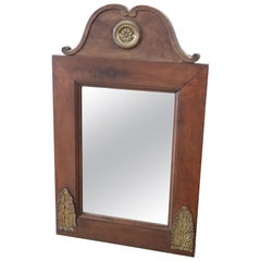 19th Century Italian Walnut Wood Wall Mirror with Gilded Bronze Decorations