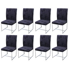 Set of Eight Milo Baughman Ultra Suede and Chrome Dining Chairs