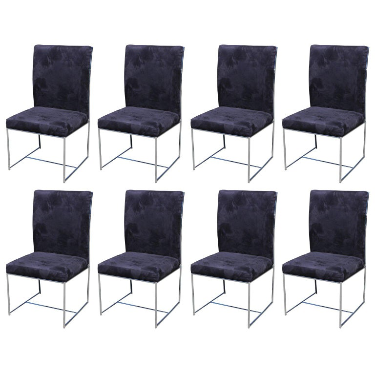 Set of Eight Milo Baughman Ultra Suede and Chrome Dining Chairs For Sale