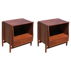 Pair of Nightstands with Legs in Walnut by Kipp Stewart for Drexel Declaration