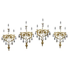 Impressive Set of Four Late 19th Century Gilt Bronze and Rock Crystal Sconces