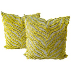 Tiger Shag Patterned Pillows in Chartreuse