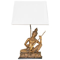1960s French Brass Birman Buddha Figure Table Lamp, Wood Base