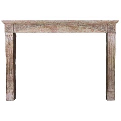 Late 19th Century French Antique Fireplace Surround in Marble Stone