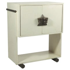 Mid-Century Modern Parchment Small Cabinet