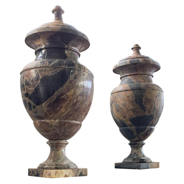 19th Century Italian Large Pair of Monumental Marble Urns For Sale