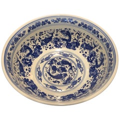 Chinese Large Blue and White Punch Bowl