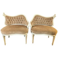 Pair of French Antique Shaped Tufted Velvet Chairs