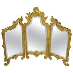 Miniature Triptych Gold Doré Dresser Top Beveled Mirror Female Figural Face