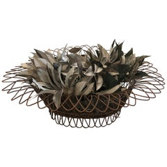 Charming Antique French Wire Basket Planter with Decorative Tole Leaves