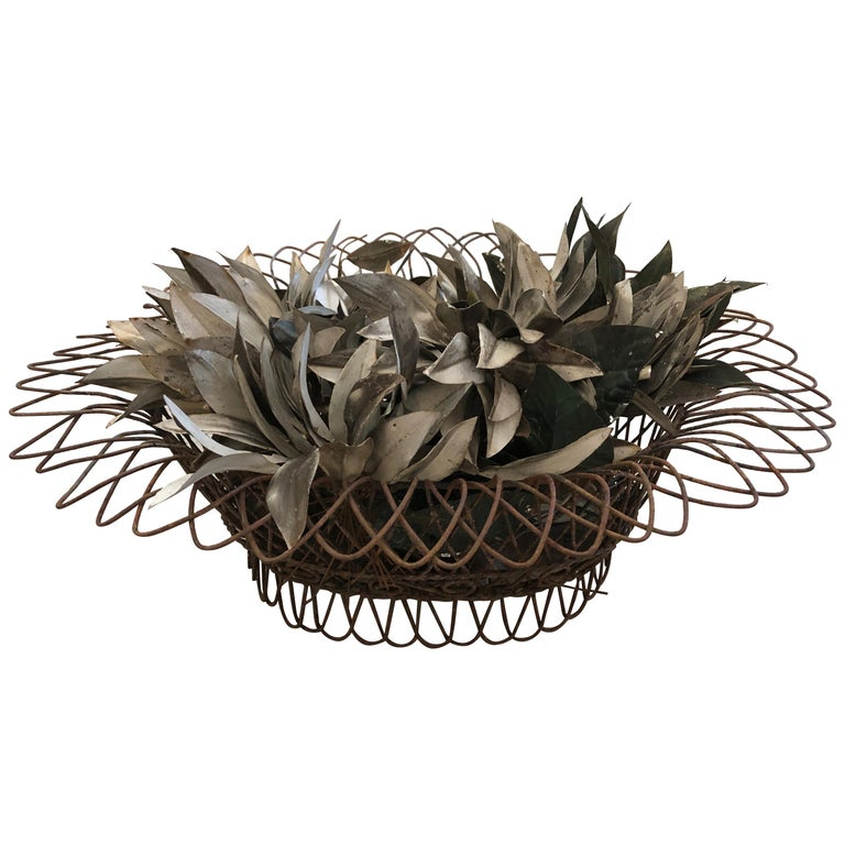 Charming Antique French Wire Basket Planter with Decorative Tole Leaves For Sale