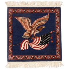 Small Finely Woven Rug Depicting Eagle and Flag