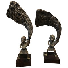 Pair of African Bronze Bamileke Cameroon Statues