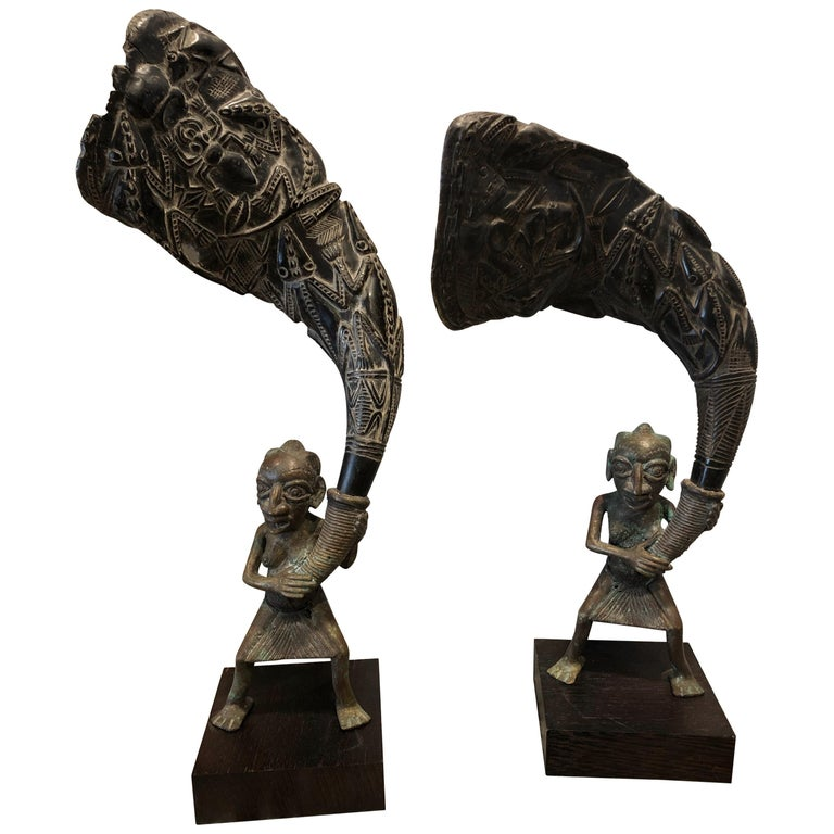 Pair Of African Bronze Bamileke Cameroon Statues For Sale