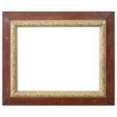 20th Century Italian Oakwood Frame with Golden Decoration