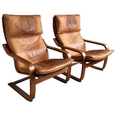 Vintage Cognaс Leather Poäng Chair by Noboru Nakamura for Ikea, 1999