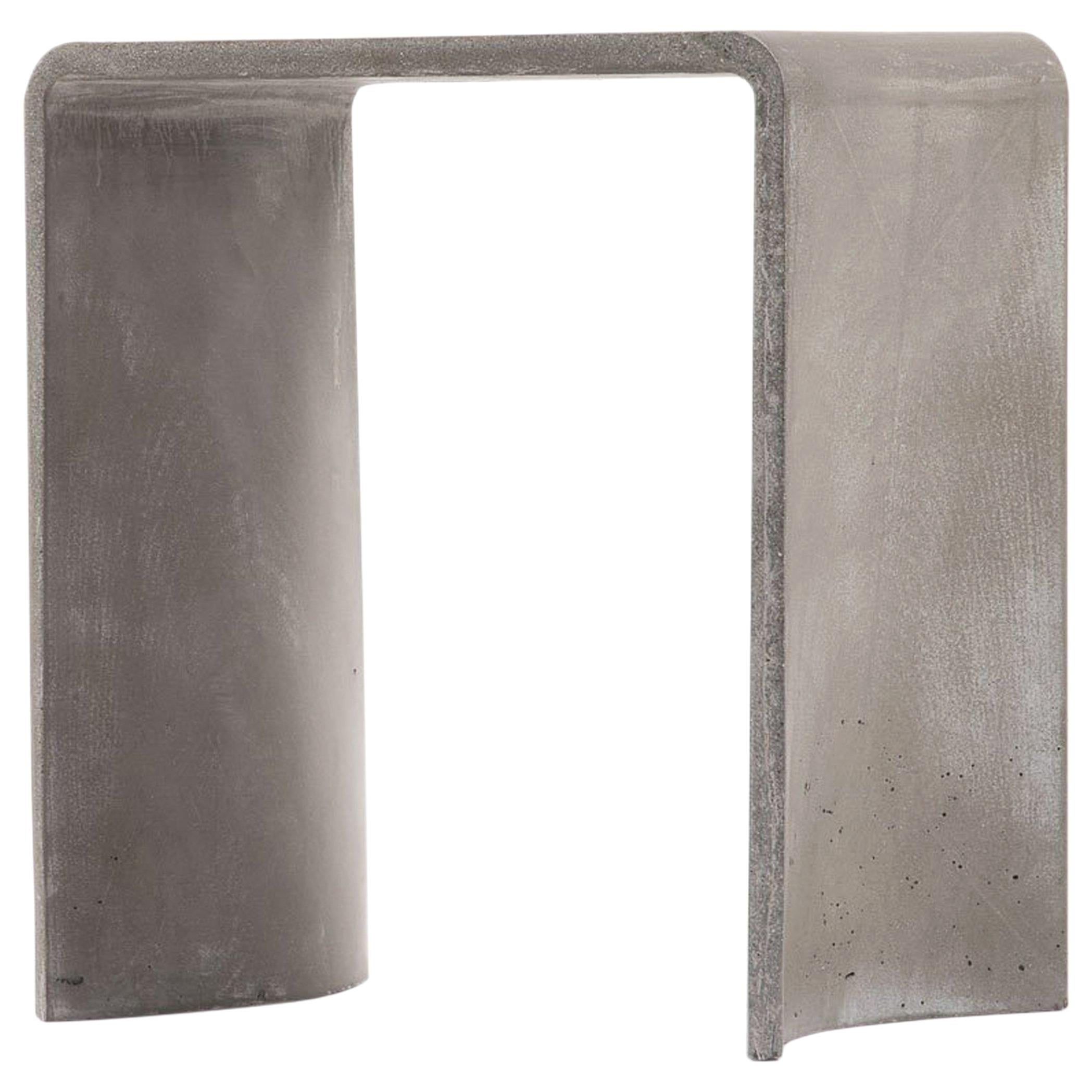 21st Century Concrete Contemporary Stool & Side Table, Light Grey Cement Color