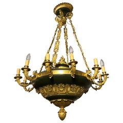 Napoleon III Golden Bronze and Dark Green Lacquer Twelve Lights Chandelier