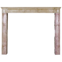 19th Century French Country Antique Fireplace Surround in Bicolor Lime Stone