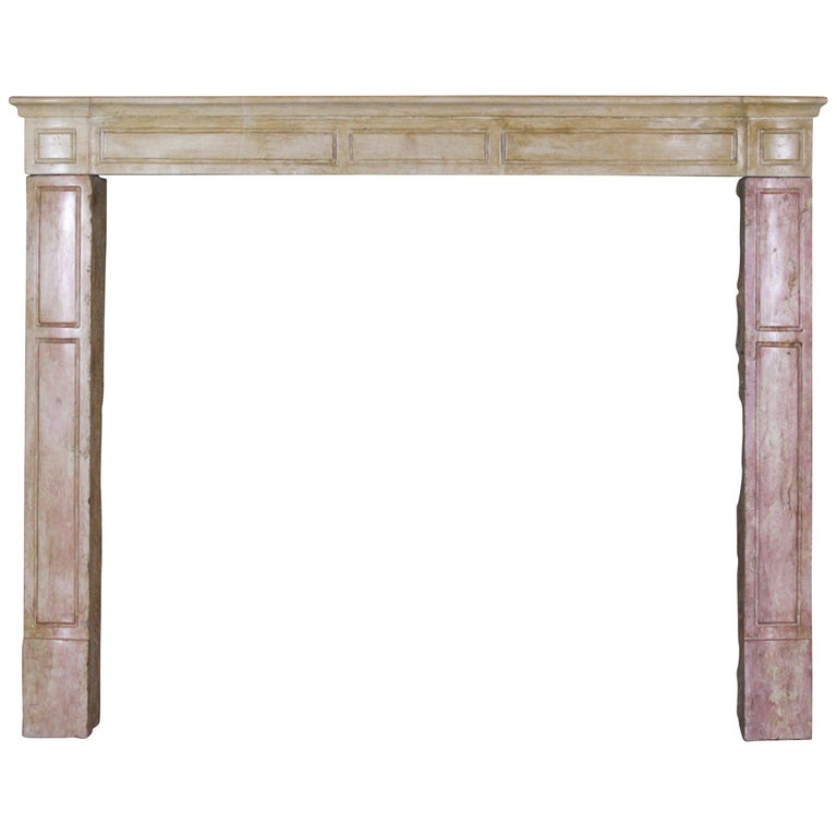19th Century French Country Antique Fireplace Surround in Bicolor Lime Stone For Sale