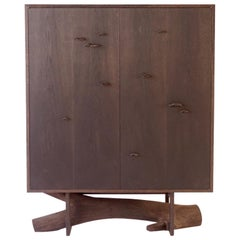 Blackened White Oak Elm Branch Armoire by Chris Lehrecke, Bronze Mushroom Pulls