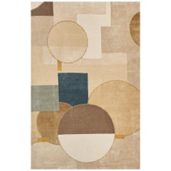 Schumacher Cotton Club Area Rug in Hand Knoted Wool & Silk by Patterson Flynn Ma