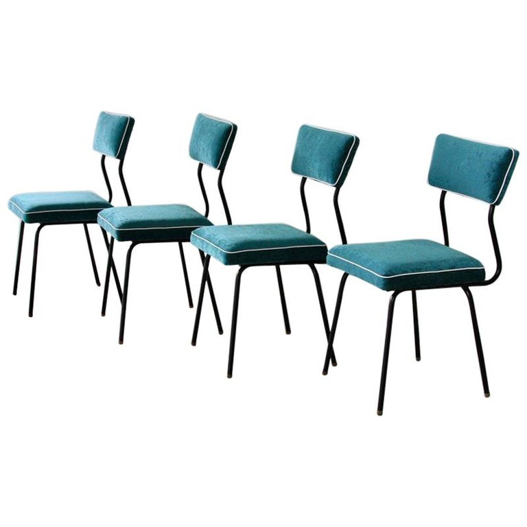 Set of Four Dining Room Chairs, France, 1950s For Sale