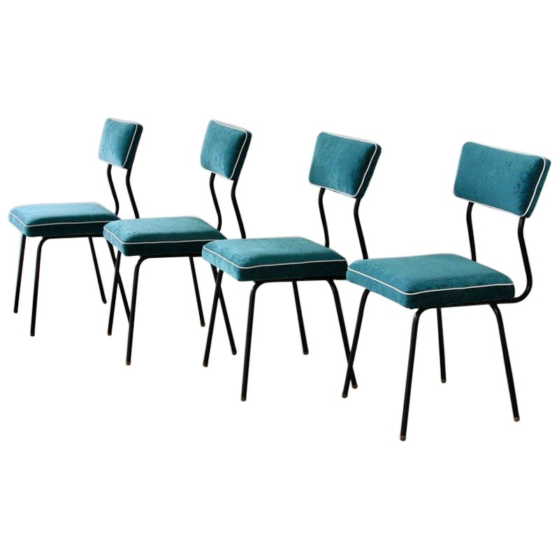 Set of Four Dining Room Chairs, France, 1950s