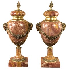 Pair of 19th Century Marble and Bronze Cassolettes or Mantel Urns