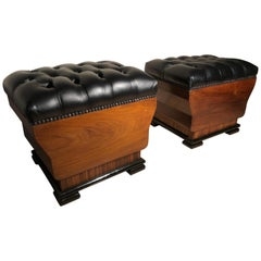 Art Deco Italian Wood and Black Leather Poufs Ottomans, 1930s