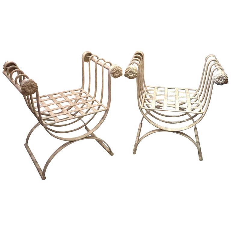 Pair of Iron Curule Benches For Sale