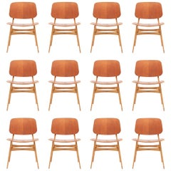 Set of 12 Midcentury Side Chairs in Teak and Oak by Børge Mogensen