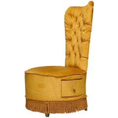 Gold Velvet Slipper Chair with Built in Drawer