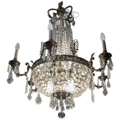 Late 19th Century Napoleon III Crystal Brass French Louis XV Chandelier, 1880s