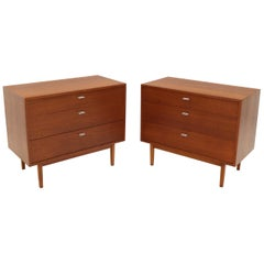 Pair of Danish Mid-Century Modern Teak 3-Drawer Bachelor Chests Dressers Cabinet